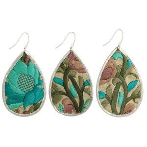 Turquoise Floral Embroidered Teardrop Earrings
